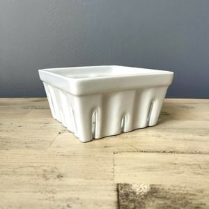 Crate and Barrel White Porcelain Berry Basket